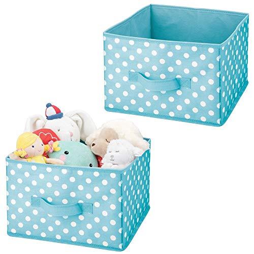 mDesign - Organizador de almacenamiento de tela suave para armario, asa adjunta, parte superior abierta, para habitación de niños,...