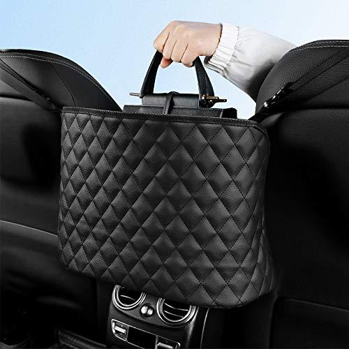 URAQT Autositz Organizer Leder, Handtaschen-Halter für Auto, Hängende Autotasche zwischen den Fahrern, Auto Kofferraum Organizer Aufbewahrungstasche, Schwarz