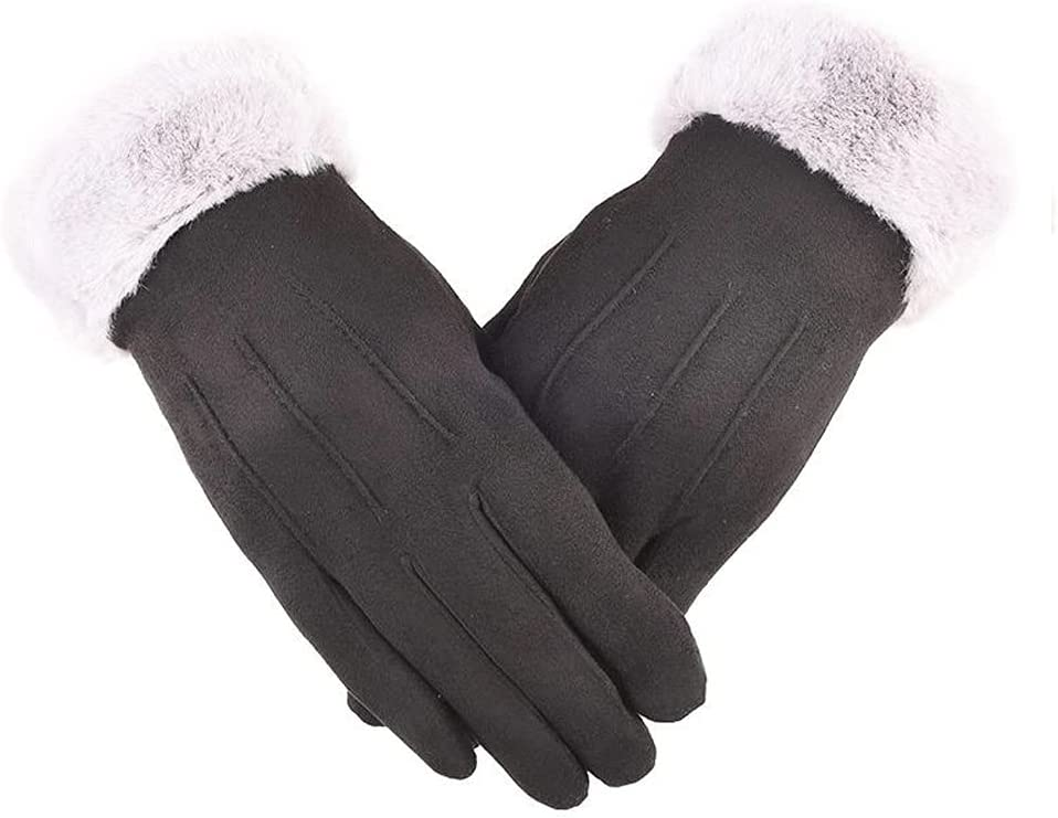 ADSVMEL Winter Gloves for Women Cold Weather,Touch Screen Gloves Dual-Layer Elastic Thermal Warm Gloves Acrylic Cashmere Lining with Faux Fur Cuff Warm Winter Thick Windproof Snow Gloves