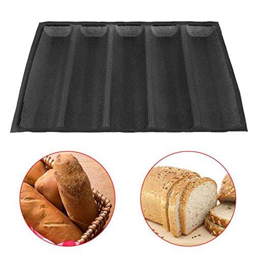 Backform Silikon Brot Pfannen Non-Stick Fach 5 Loaf Mold Laibe Schwarz 17.72X13.19In Baker Pan Bakeware Perfored für Küche (1Pc),Schwarz