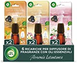 Airwick Ricariche Diffusore di Oli Essenziali - Confezione da 6 Ricariche fragranze miste: 2 Peonia e Gelsomino, 2 Mandarino e Arancia Dolce, 2 Vaniglia e Fiori di Ciliegio