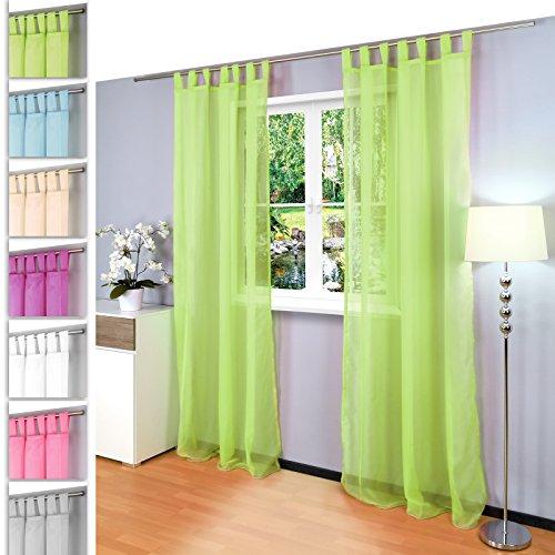 Juego de 2 Gräfenstayn® Venezia - cortina transparente monocolor de voile - muchos colores atractivos - dimensiones (largo x ancho): 245x140cm cada uno - con sello Oeko-Tex (Verde manzana)