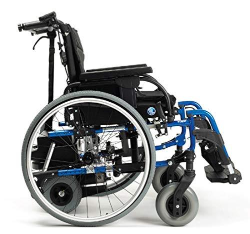 FabaCare Rollstuhl D200-V mit Motor V-Drive und Trommelbremse, Leichtgewichtrollstuhl mit Schiebehilfe, faltbar, Transportrollstuhl, Sitzbreite 42 cm