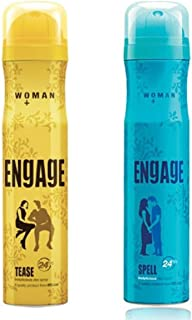 Engage Woman Deodorant, Tease, 165ml / 110g (Weight May Vary) and Engage Spell Deodorant For Women, 150ml / 165ml