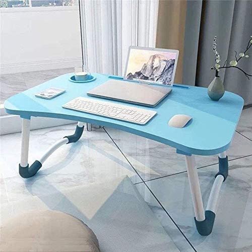 GROSSē Mesa de cama para ordenador portátil, mesa de regazo para cama y sofá, bandeja de desayuno, bandeja de café, plegable, soporte de lectura para sofá, suelo infantil (60 x 40 cm) (azul)