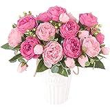 Huryfox flores Artificiales, 4 Ramo Rosa peonia Artificial Flores de Seda Artificiales decoración Ramo Novia Boda hogar jardín(Rosado)