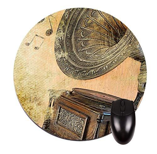 Vintage Plattenspieler - Rundes Mauspad - Stilvolles, langlebiges Bürozubehör und Geschenk