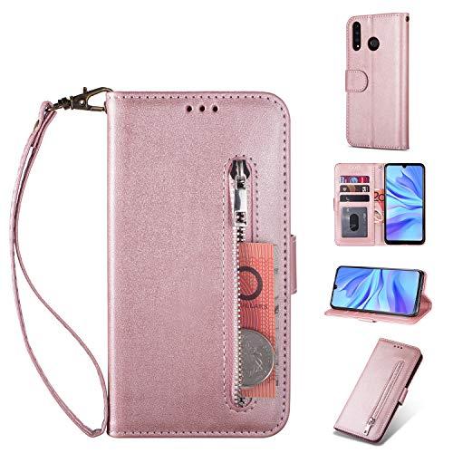 ZTOFERA Huawei P20 Lite Hülle, Magnetisch Folio Flip Wallet Leder Standfunktion Reißverschluss schutzhülle mit Trageschlaufe, Brieftasche Hülle für Huawei P20 Lite - Roségold