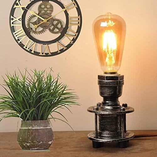 Tischlampe Retro e27 Vintage Landhausstil Industrial Metall,Tischleuchte Innen Antik Grau Design Landhaus,Modern Dekorative Leuchten Wohnzimmer Stehend klein, Nachttischlampe aus Stahl
