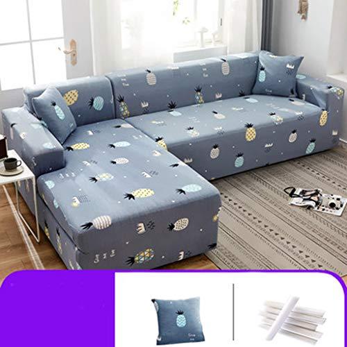 Hoekbankovertrek, uittrekbaar, met 1 kussenslopen, beschermende sofa, L-vorm, stofbescherming, hoekbank, met armleuningen, bankovertrek, uitbreidbaar