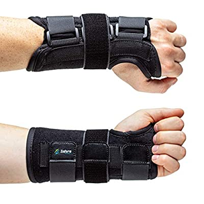 Carpal Tunnel Wrist Brace Support with Metal Splint Stabilizer - Helps Relieve Tendinitis Arthritis Carpal Tunnel Pain - Reduces Recovery Time for Men Women - Left (L/XL)