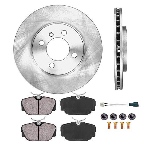 [ E30 ] FRONT 260 mm Premium OE 4 Lug [2] Brake Disc Rotors + [4] Ceramic Brake Pads + Sensors + Hardware CRK12552
