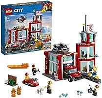 LEGO CityFire CasermadeiPompieri, Set di Costruzioni con Fuoristrada Giocattolo, Scooter Acquatico, Drone e 3...