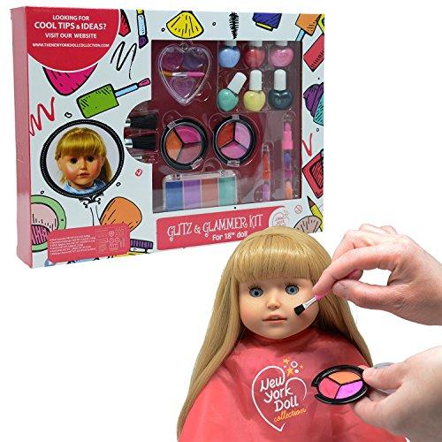 The New York Doll Collection Lavable Maquillaje Conjunto - Para La Moda Niña Muñecas y Niños Fingir Jugar Cosmético Conjunto Incluye Cargas de Accesorios - Niños Vestido Arriba - Muñeca Juego de Juego
