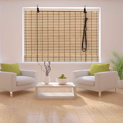 N / A Bamboo Wooden Roll Up Blinds, Window Sun Blade Privacy Drape 42 X 72 Inches