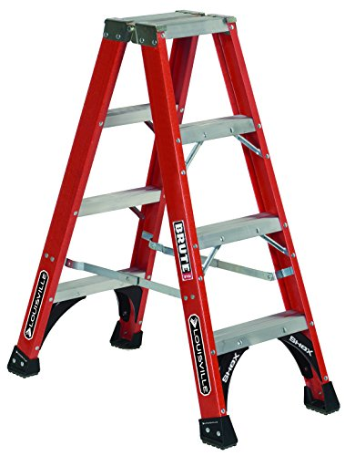 Louisville Ladder 4-Feet Fiberglass Twin Front Ladder, 375-Pound Load Capacity, FM1404HD, Red