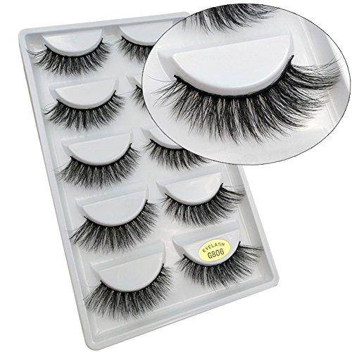 Scala 5 Pairs 3D Handmade Cotton Stalk Water Mink Cross Messy Mink Eye Lashes False Eyelashes 6 Styles to Choose (G806)