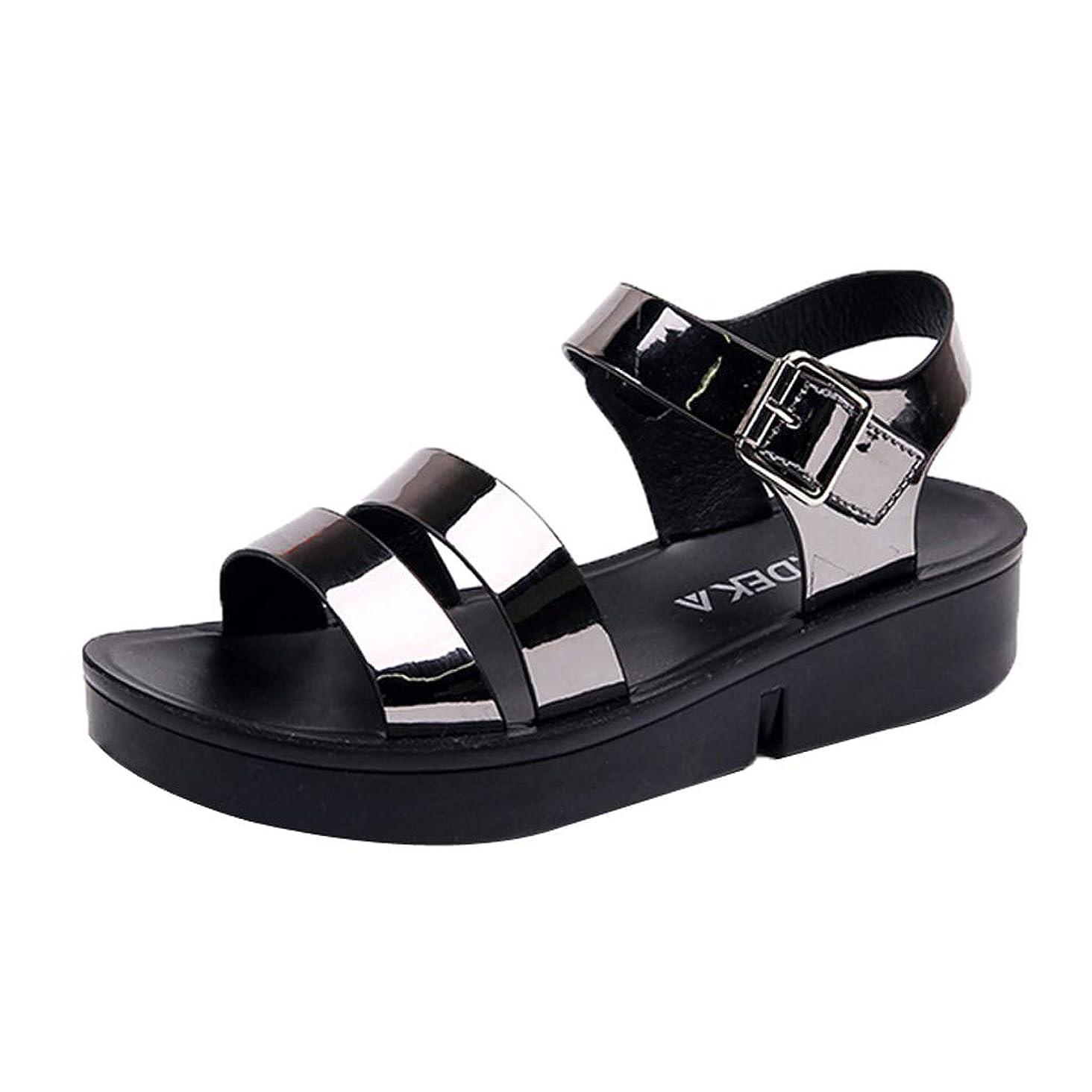 Toimothcn Women's Beach Sandals Summer Casual Thick Botton Flat Sandals Buckle Ankle Strap Dress Shoes