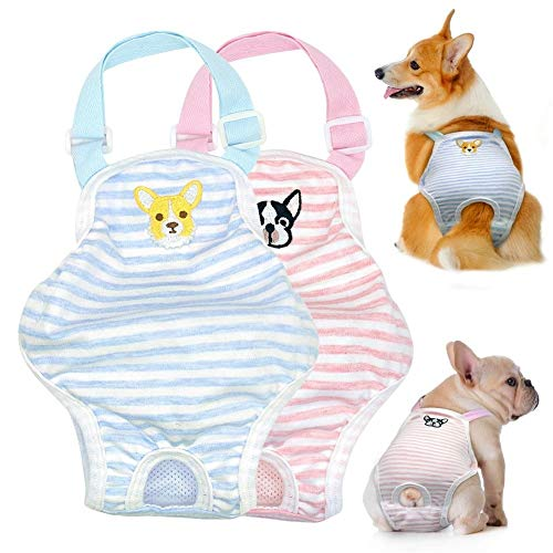 Stock Show 1PC Dog Cute Summer Cotton Stripe Sanitary Pantie with Adjustable Strap Suspender Physiological Pants Pet Underwear Diapers Jumpsuits for Girl Dogs Medium Large Corgi French Bulldog, Blue