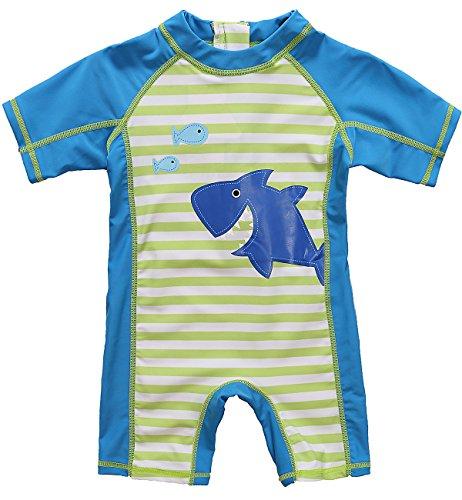 CharmLeaks Baby Boys One Piece Zip Rash Guard Short Sleeve Shark UV Swimsuit, Blue Stripe Shark, 6-12 Months