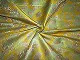 Brokat-Stoff mit gelbem und grünem Blumenmuster, X