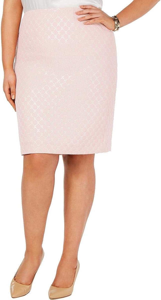 Kasper Womens Plus Polka Dot Metallic Pencil Skirt Pink 22W