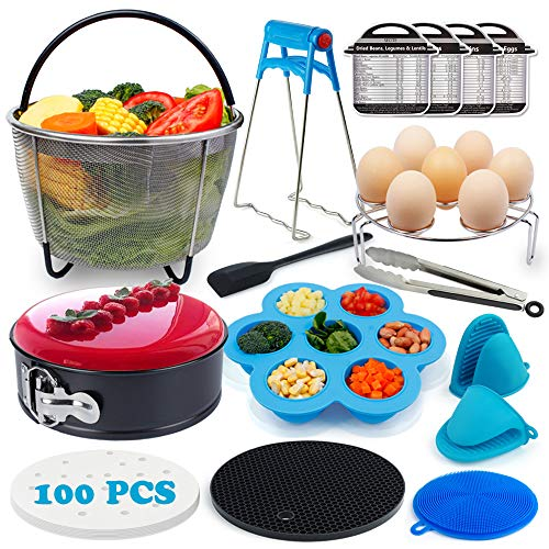 16 In 1 Accessories Compatible with Instant Pot 6,8Qt-Steamer Basket, Egg Rack, Springform Pan,Baking Parchment,Egg Bites Mold,Magnetic Cheat Sheets,Oven Mitts,Kitchen Tongs,Silicone Spatula