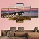 QQQAA 5 Piezas de Lienzo Puente del mar en la bahía de Burgas en Bulgaria Póster Imagen Pintura Sala Decoración Impresión Póster Arte de la Pared Marco 150x80cm