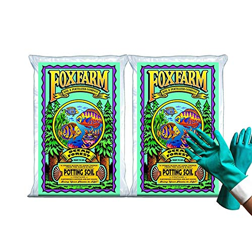 Fox Farm Ocean Forest Potting Soil Organic Natural Soil Mix for Indoor and Outdoor Plants - Organic Plant Fertilizer - 38.5 Quart (1.5 cu ft). - (Bundled with Pearsons Protective Gloves) (2 Pack)