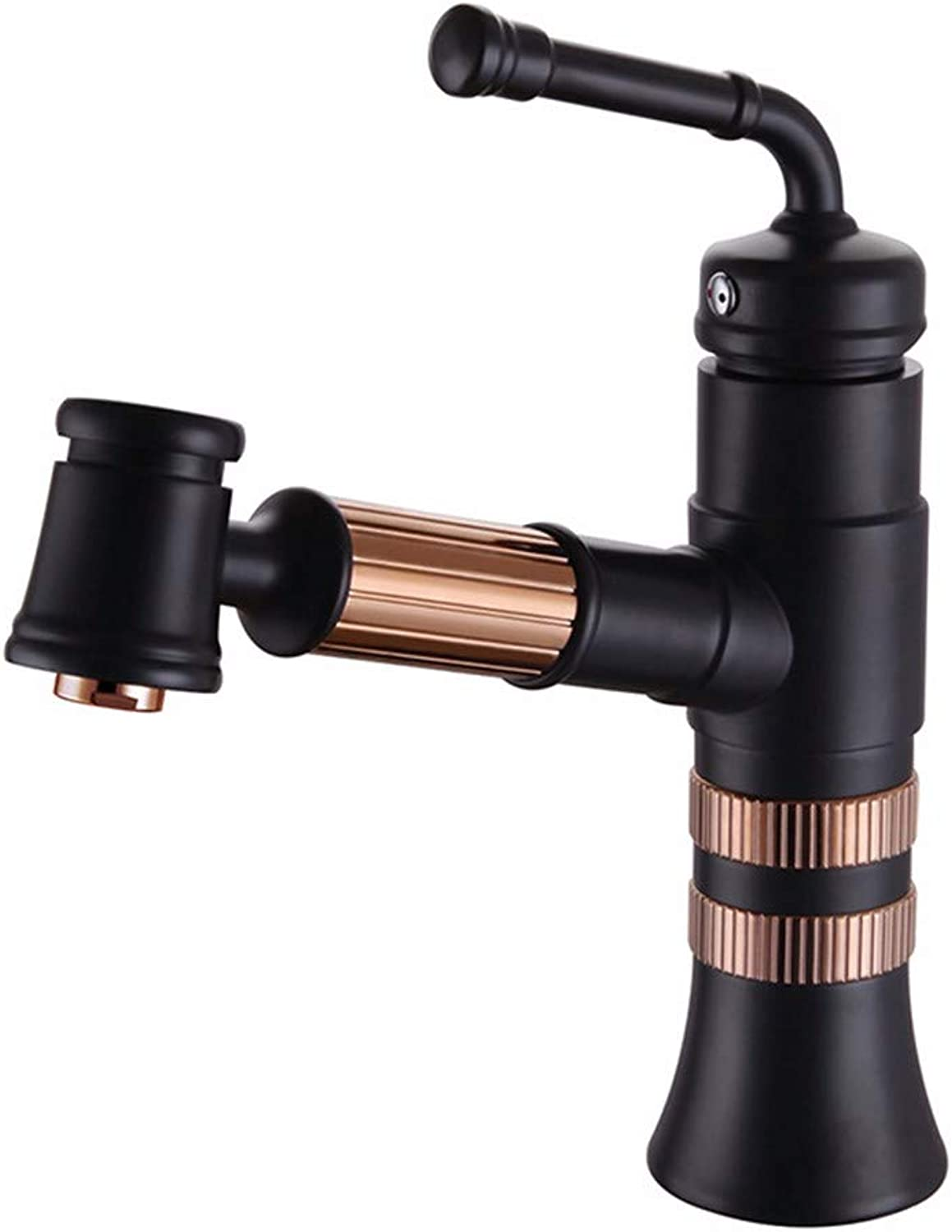 FT-13 Hot and Cold Faucet Retro Faucet Kitchen Bathroom Faucet European Style Pull Basin Faucet Black hot and Cold Above Counter Basin Faucet, Black + pink gold
