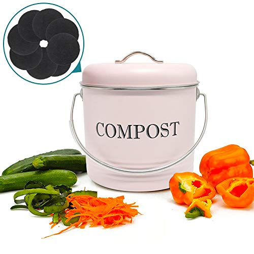 Great Deal! Reliancer Compost Bin with 8 FREE Charcoal Filters 1.3 Gallon 5 Liter Dual Layer Powder-...