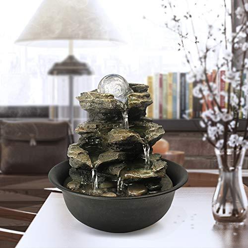 WATURE Desktop Wasserfall Brunnen - LED Tischplatte Brunnen Schreibtisch Zimmerbrunnen für Büro, Wohnzimmer, Ferienhaus mit beleuchteten LED-Leuchten &Tauchpumpe (Realistic Rock, 21cm)'