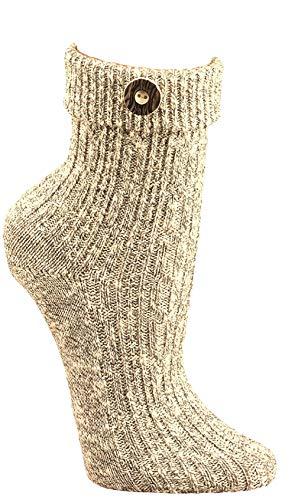 krautwear Herren Damen Trachtenstrümpfe Trachten Umschlag-Söckchen Socken mit Wolle Natur Beige Creme Handgekettelt Oktoberfest Karneval (nat-43-46)