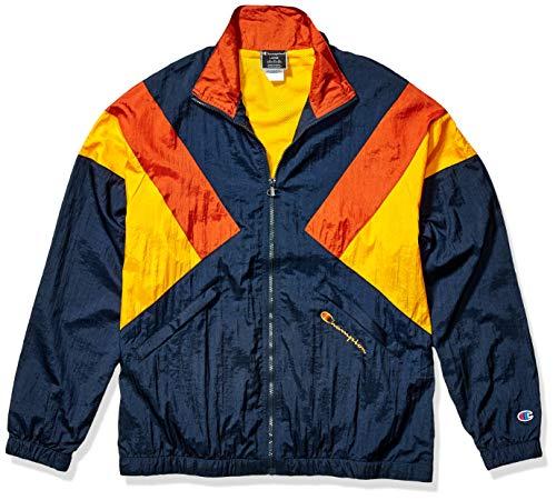 Champion LIFE Men's Nylon Warm Up Jacket, Navy/Burnt Orange/c. Gold, Large
