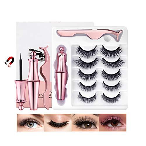 Mimore 5 paia di ciglia magnetiche con kit eyeliner, Ciglia finte magnetiche 3D...