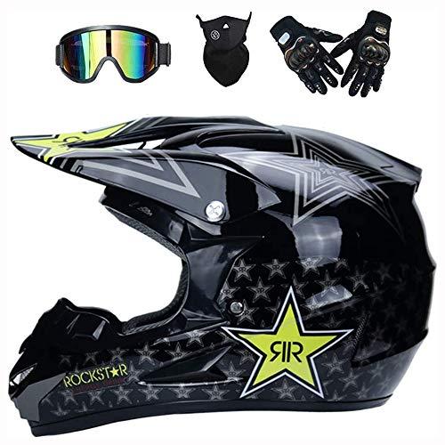 JCLDG Casco Descenso Hombre, Negro/Rockstar - Adulto Casco Motocross Enduro MTB/Gafas/Máscara/Guantes, Casco...