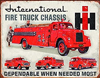 Desperate Enterprises International Fire Truck Chassis Tin Sign 16  W x 12.5  H