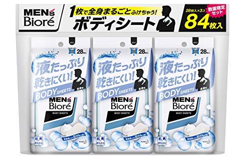 メンズビオレ 【まとめ買い】 ボディシート 清潔感のある石けんの香り 28枚入 × 3個 液たっぷり 乾きにくい 全身まるごとふけちゃう男のボディシート セット 28枚 (x 3)