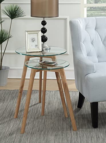 Best Convenience Concepts Clearview Nesting Round End Tables, Natural / Glass