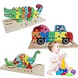 IWILCS Giocattolo per bambini Puzzle 3D, Animali Puzzle in legno per bambini Giocattolo Montessori Animali Giocattoli educativi Regalo educativo per bambini Natale e compleanno