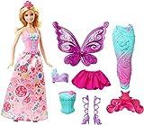 Barbie Dreamtopia poupée Bonbons coffret 3 en 1 blonde avec trois tenues roses de princesse, sirène et fée, jouet pour enfant, DHC39