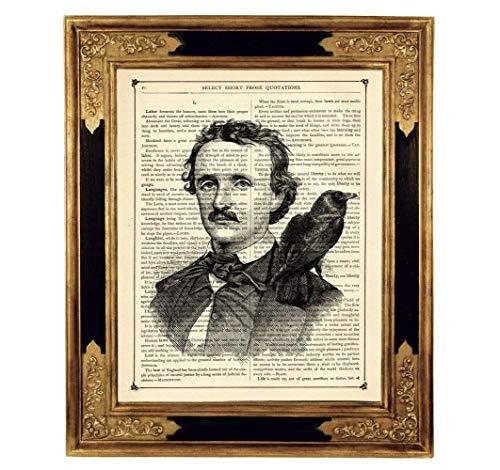 Edgar Allan Poe Rabe Gothic Poster Kunstdruck auf antiker Buchseite Geschenk Halloween Deko Steampunk ungerahmt