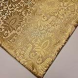Brokatstoff mit floralem Goldblatt, Damast, indisches
