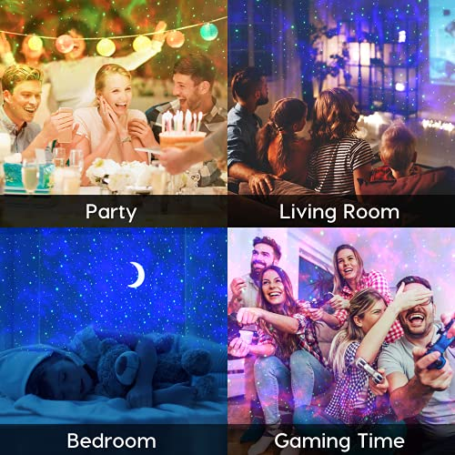 Star Projector Night Light, Lupantte Moon Nebula Light Projector, Galaxy Projector for Bedroom/Party Adults Kids with Bluetooth Music Speaker Voice & Remote Control