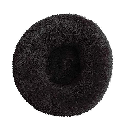 Cama de Gato Donut Base Cama Redonda Impermeable Antideslizante Lavable a Máquina Duradera para Mascotas Cama de Lujo Mullida para Perros Cachorros Gatitos (40cm | Negro)