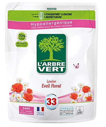 L'ARBRE VERT -Format Recharges -Lessive Liquide Parfum Éveil Floral -Hypoallergénique -Sans Allergènes -33 Lavages -1,5 L -Écolabel Européen -Approuvée par les médecins allergologues de l'ARCAA