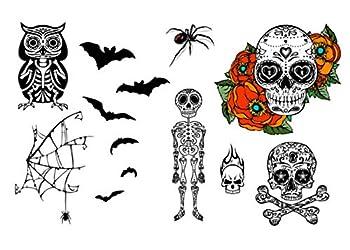 Halloween Skulls Skeleton Owl Spider & Bats Temporary Tattoo Set - Realistic Body Art - Party Favor - Cut Apart & Make Custom Tattoo Design - 26 Total Tattoos