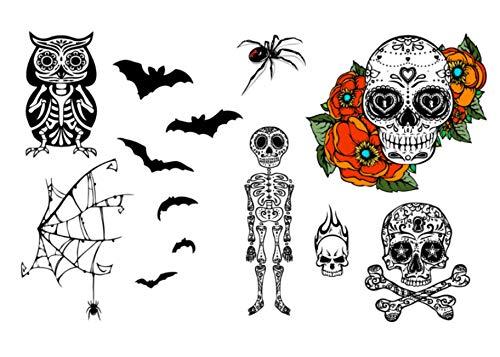 Halloween Skulls, Skeleton, Owl, Spider & Bats Temporary Tattoo Set - Realistic Body Art - Party Favor - Cut Apart & Make Custom Tattoo Design - 26 Total Tattoos