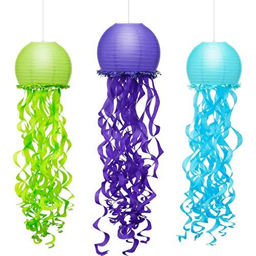 3 Piezas Farol de Papel de Medusa Farolillos de Papel de Deseos de Sirena Linternas de Nido de Abeja Guirnalda de Papel Seda Decoración Colgante de Fiesta, 3 Colores