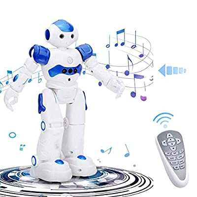 SAROOSY RC Robot Toy-Smart Robot, High-Tech Artificial Intelligence Robot/Educational Toy for Children Humanoid Sense Inductive RC Robot (Blue)